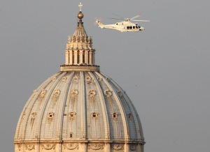 St Peters and helicopter