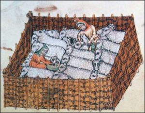 Sheep pen (Luttrell_Psalter)