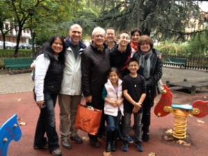 Cousins in Milan 2012 -Stendahl park