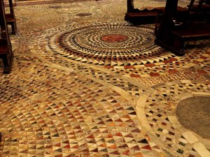 The stone mosaics on the floor of St. Mark's Cathedral in Venice.