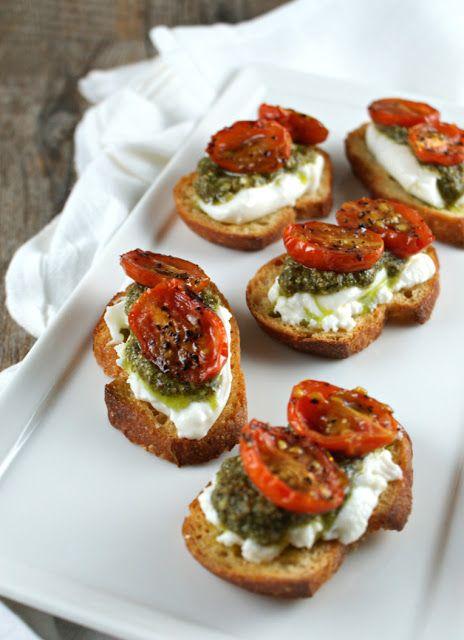 crostini and pesto