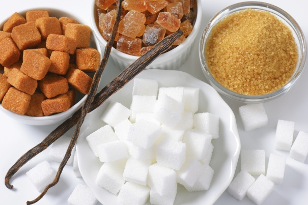 Still life of various types of sugar in bowls
